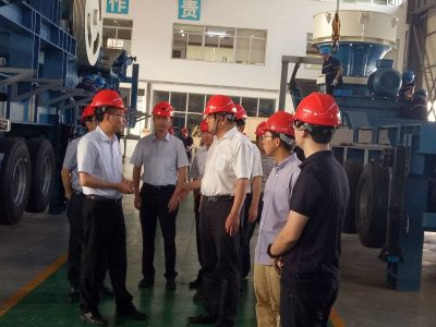 The mayor YuZhiHong of Shaoxin in Zhejiang province attend the factory inspection